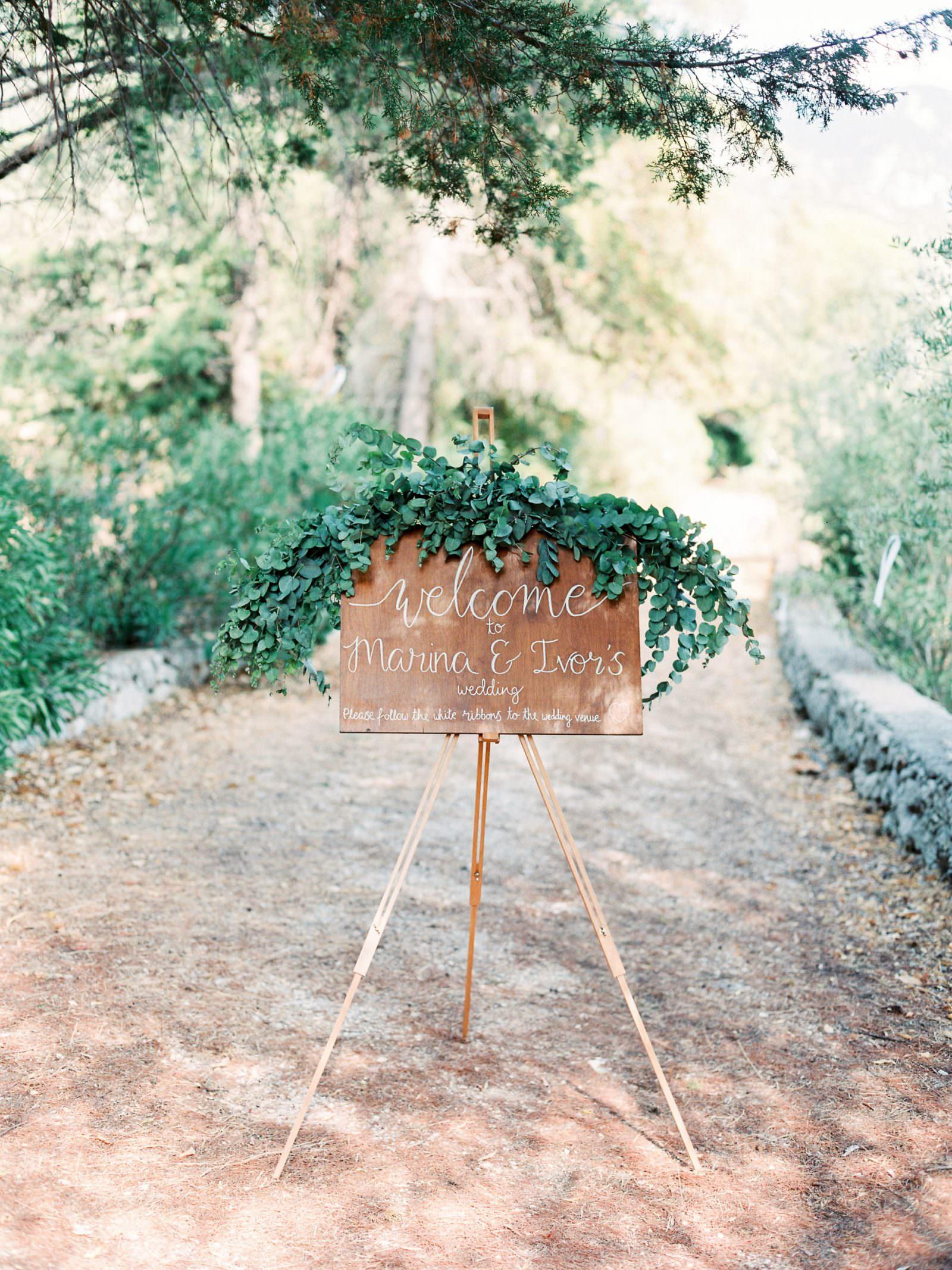 Gentilini Retreat, Cephalonia wedding welcome board ideas