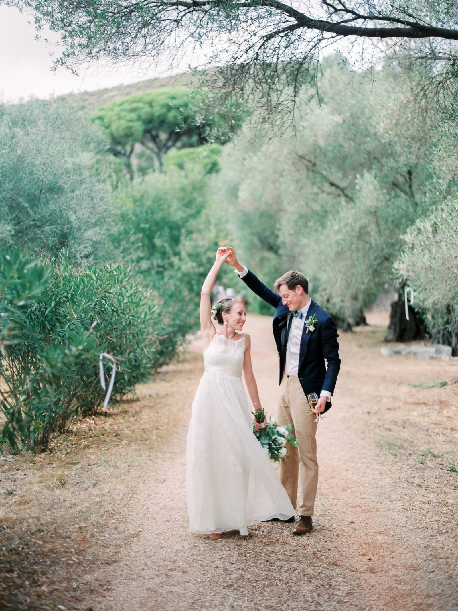 Bride and Groom dance in the Olive Groves of Kefalonia Island Greece