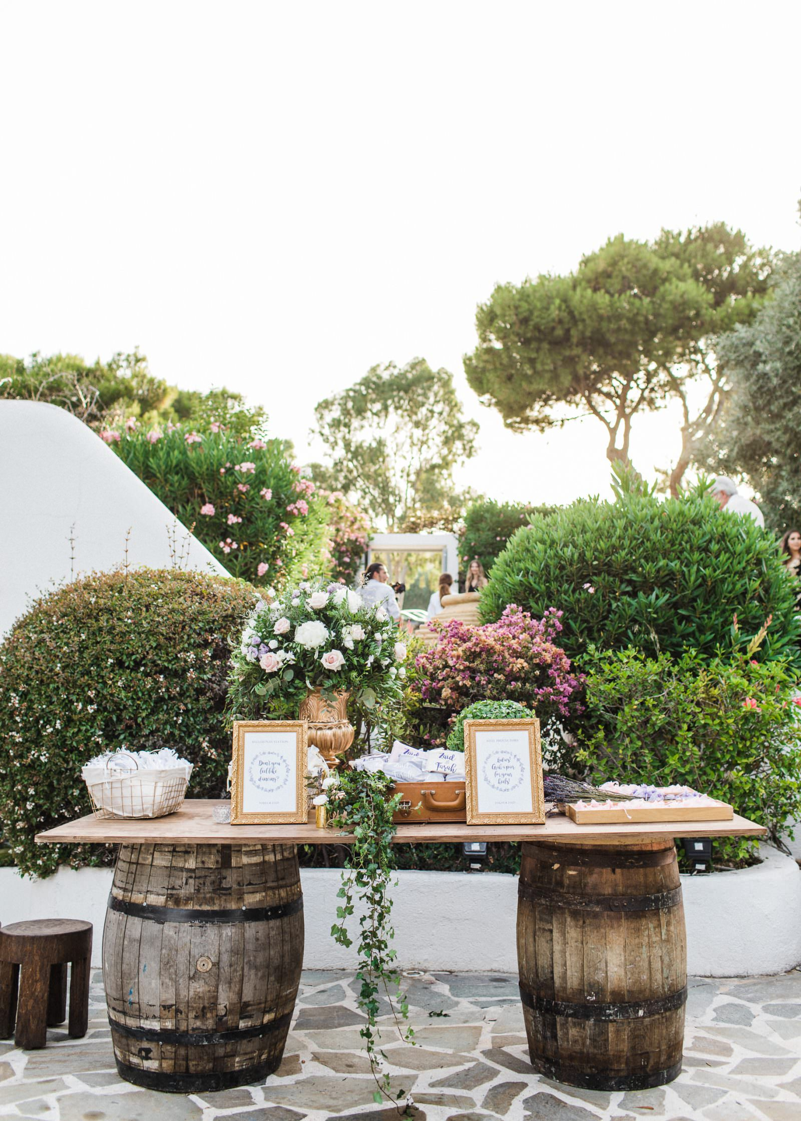 Island resort Athens Rivera rustic wedding decoration