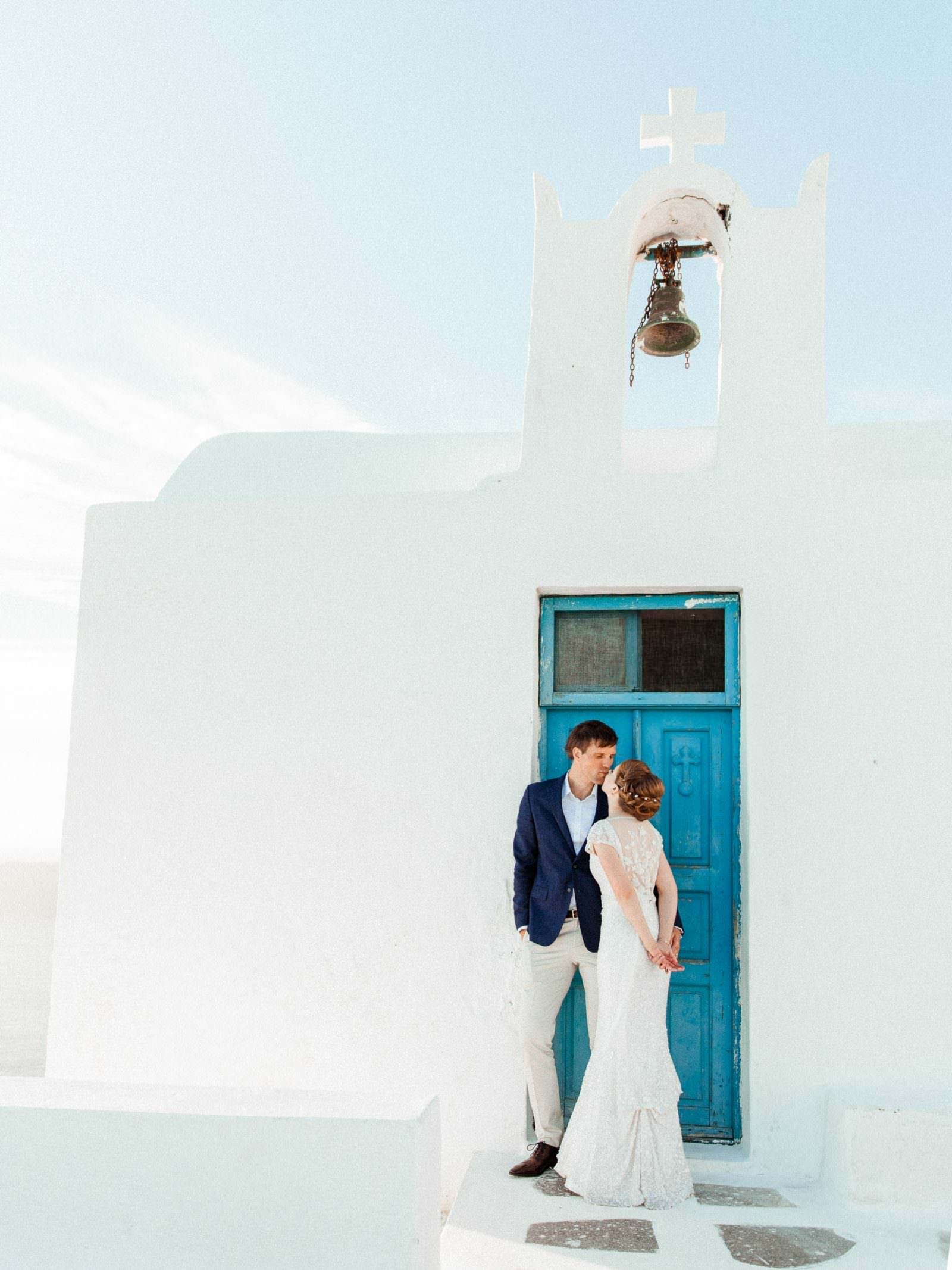 Elopement photos at Imerovigli in Santorini
