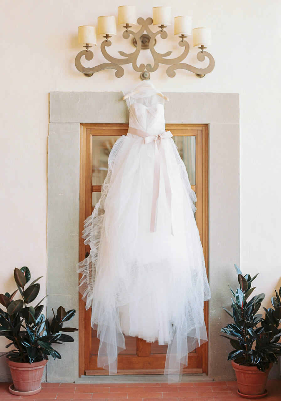 brides wedding dress at Villa Mangiacane florence
