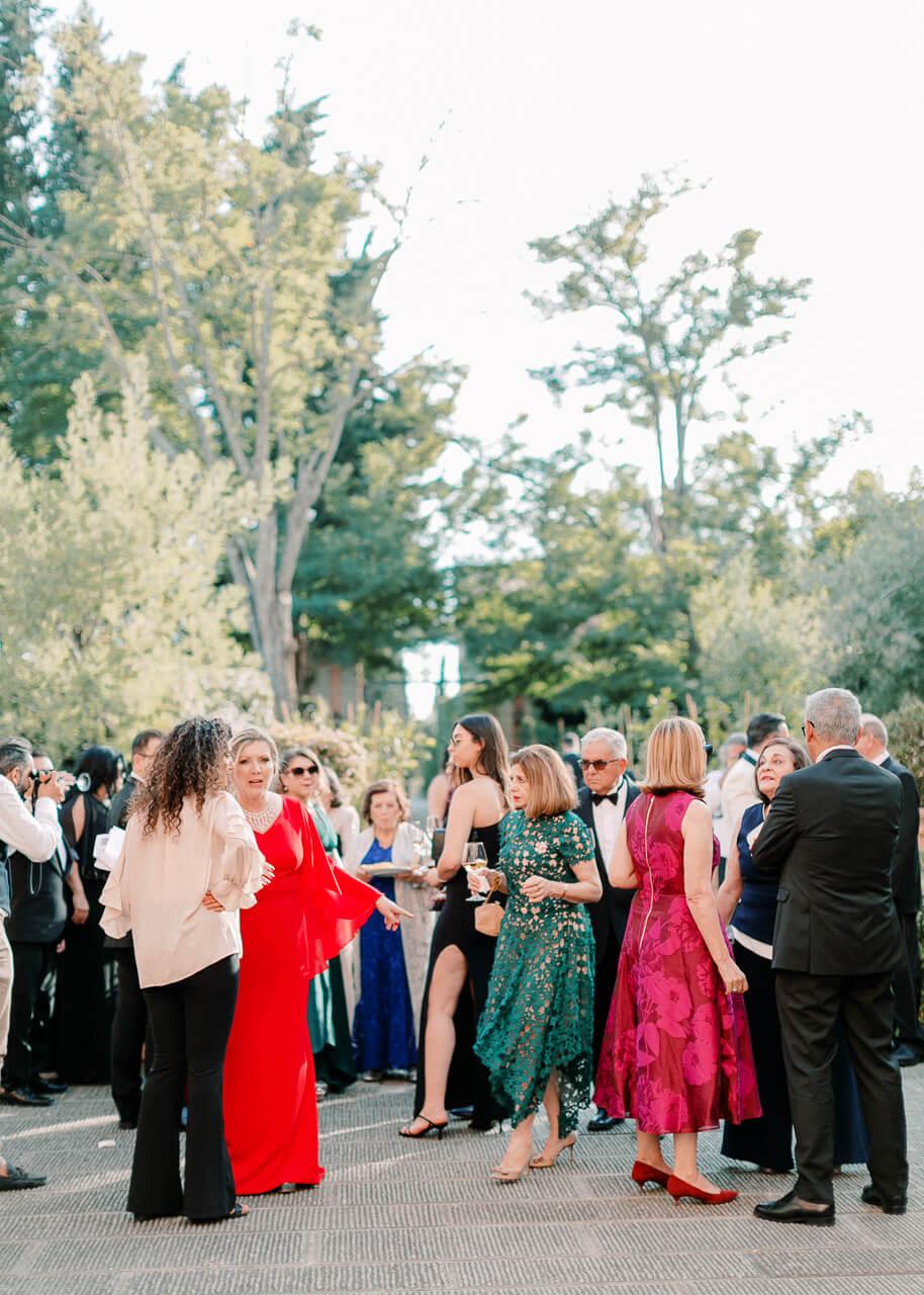 wedding guests cocktails at Villa Mangiacane