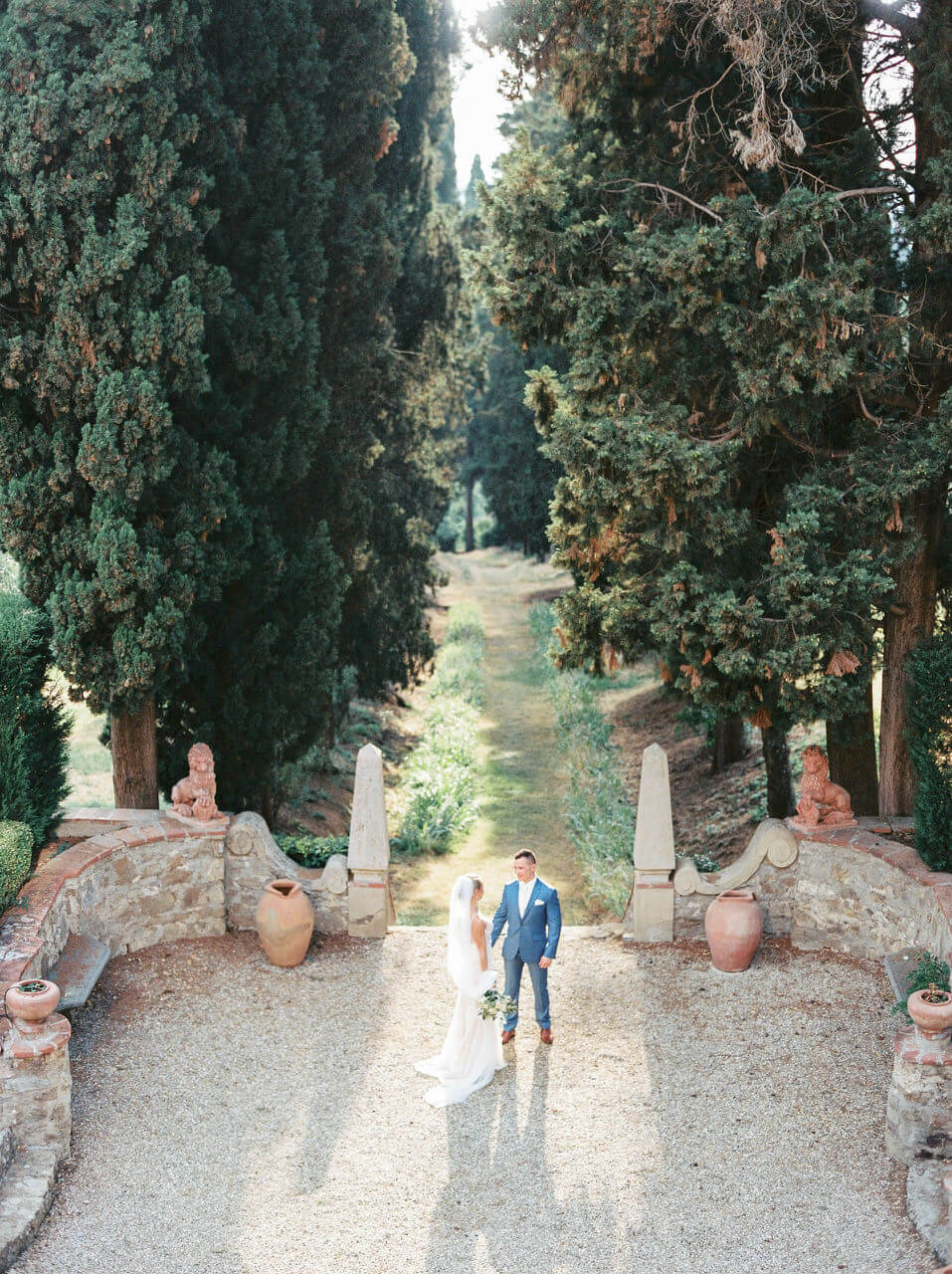 bride and groom first look Italian countryside - Villa Agape