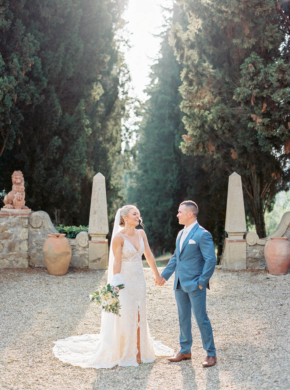 bride and groom Italian summer garden portrait - golden hour wedding