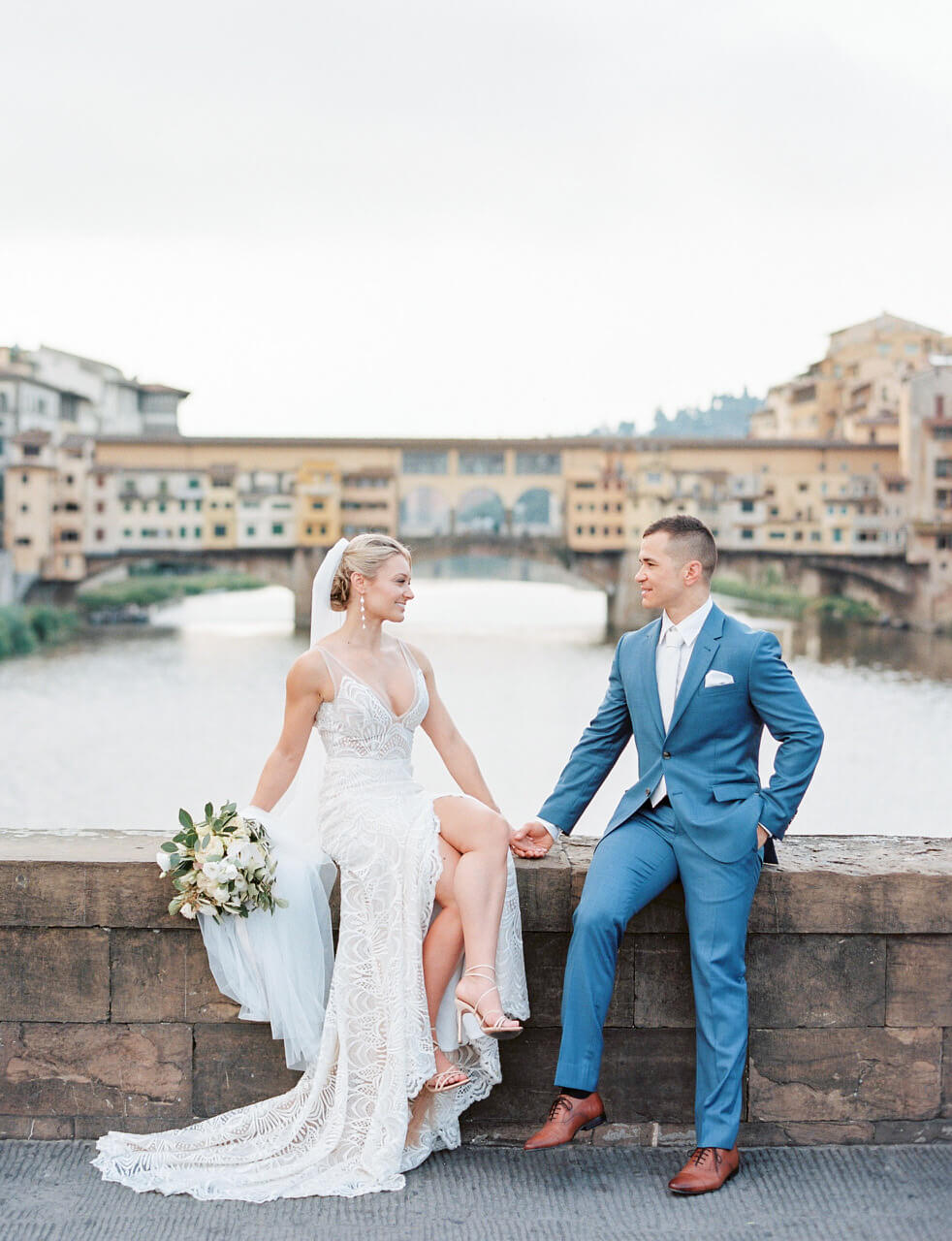 florence ponte vecchio elopement portraits by Adrian Wood Photography